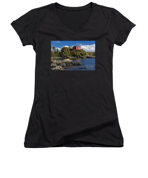 Marquette Harbor Light - D003224 Women's V-Neck (Athletic Fit)