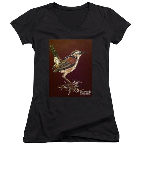 Marsh Wren Women's V-Neck (Athletic Fit)