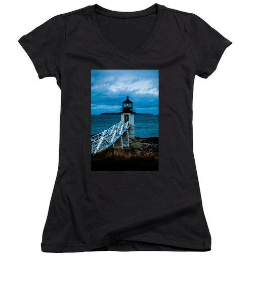 Marshall Point Light At Dusk 1 Women's V-Neck T-Shirt (Junior Cut)