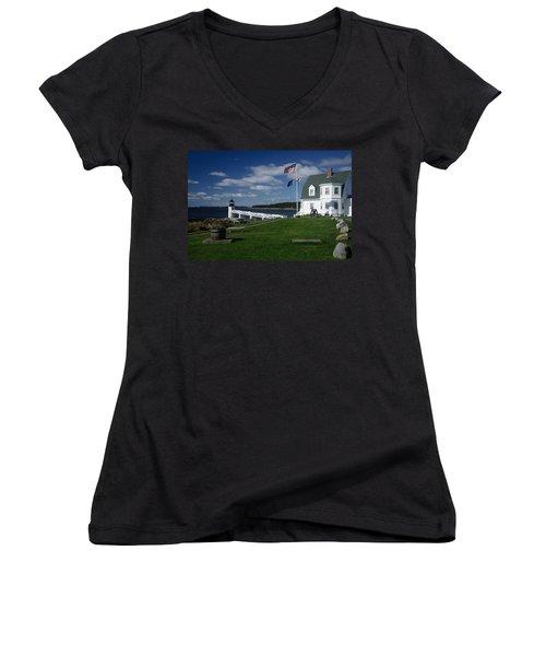 Marshall Point Lighthouse Women's V-Neck T-Shirt (Junior Cut)