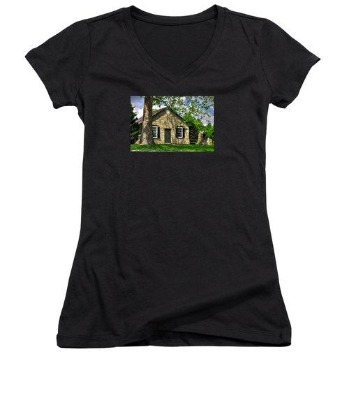 Maryland Country Churches - Fairview Chapel-1a Spring - Established 1847 Near New Market Maryland Women's V-Neck T-Shirt (Junior Cut) by Michael Mazaika