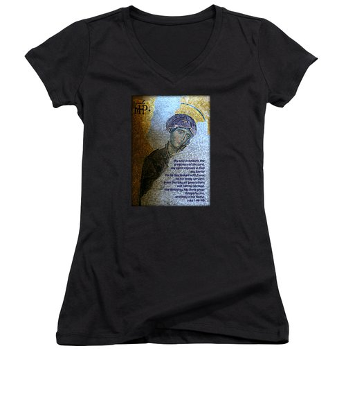 Mary's Magnificat Women's V-Neck T-Shirt (Junior Cut) by Stephen Stookey
