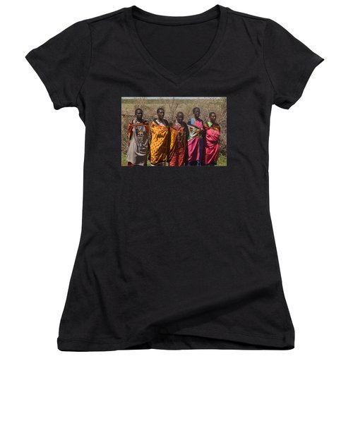 Women's V-Neck T-Shirt (Junior Cut) featuring the photograph Masai Women Chorus by Tom Wurl