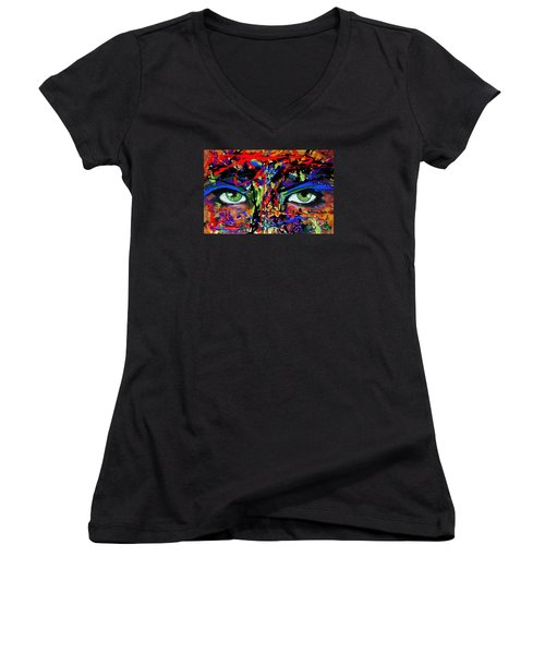 Women's V-Neck T-Shirt (Junior Cut) featuring the painting Masque by Michael Cross