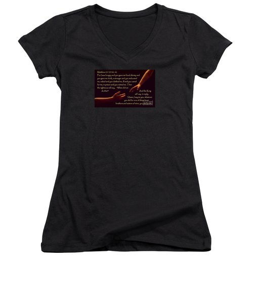 Matthew 25 Women's V-Neck T-Shirt (Junior Cut) by Sharon Elliott