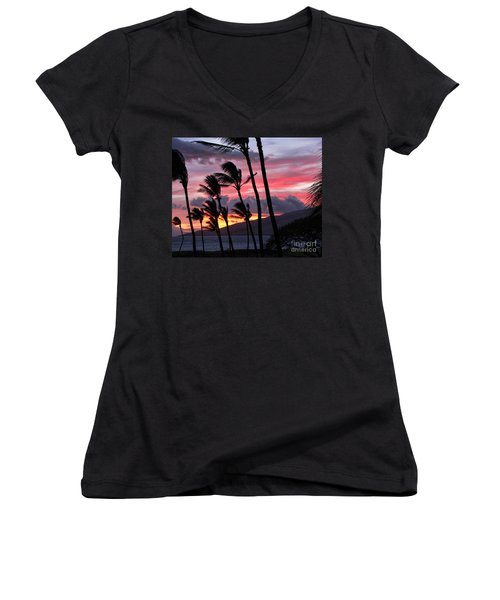 Women's V-Neck T-Shirt (Junior Cut) featuring the photograph Maui Sunset by Peggy Hughes