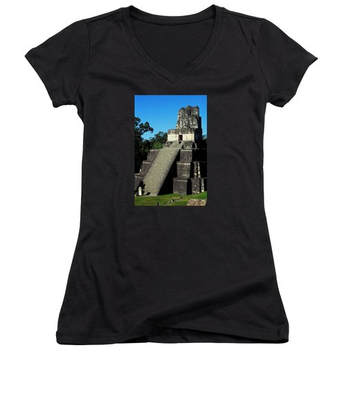 Mayan Ruins - Tikal Guatemala Women's V-Neck T-Shirt (Junior Cut) by Juergen Weiss