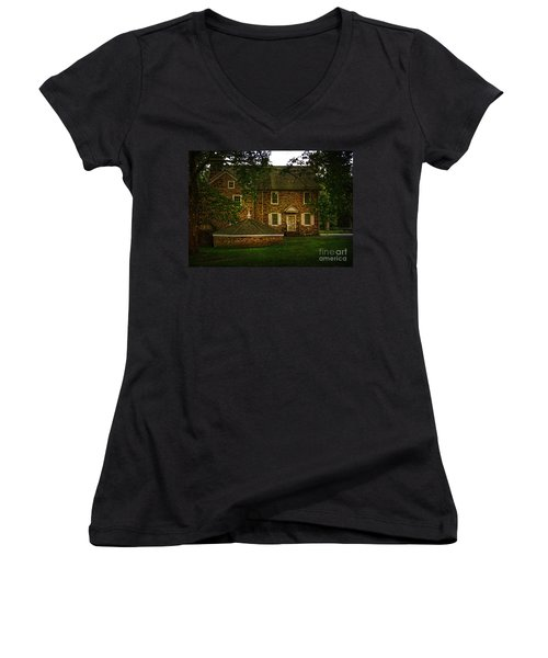 Women's V-Neck T-Shirt (Junior Cut) featuring the photograph Mcconkey's Ferry Inn by Debra Fedchin