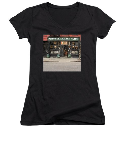 Mcsorley's Old Ale House During A Snow Storm Women's V-Neck (Athletic Fit)