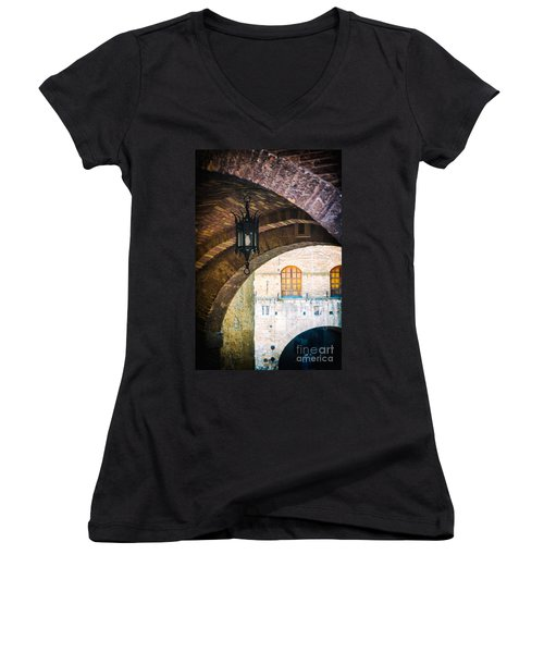 Women's V-Neck T-Shirt (Junior Cut) featuring the photograph Medieval Arches With Lamp by Silvia Ganora