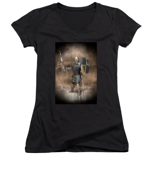 Women's V-Neck T-Shirt (Junior Cut) featuring the mixed media Medieval Knight by Aaron Berg
