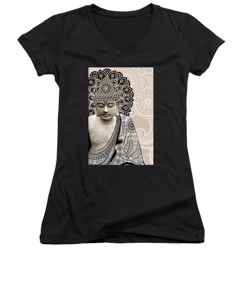 Meditation Mehndi - Paisley Buddha Artwork - Copyrighted Women's V-Neck (Athletic Fit)