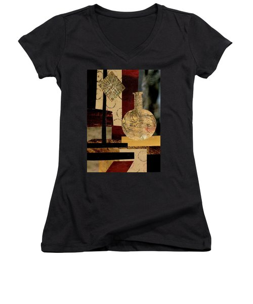 Mediterranean Vase Women's V-Neck T-Shirt (Junior Cut) by Patricia Cleasby