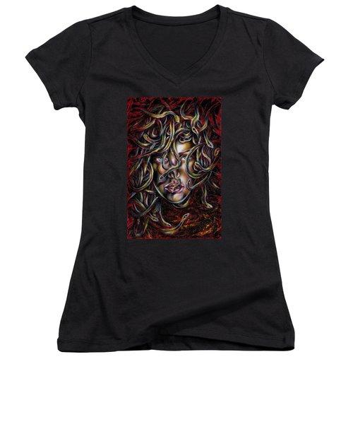 Women's V-Neck T-Shirt (Junior Cut) featuring the painting Medusa No. Three by Hiroko Sakai