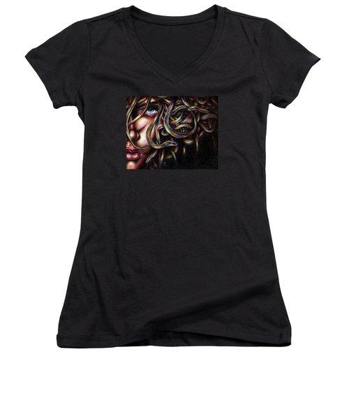 Women's V-Neck T-Shirt (Junior Cut) featuring the painting Medusa No. Two by Hiroko Sakai