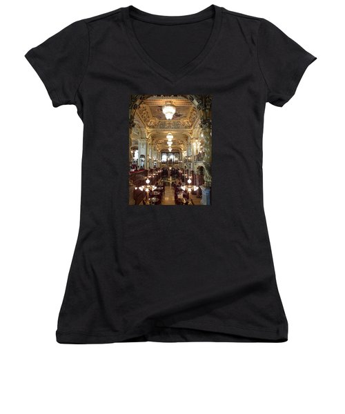 Meet Me For Coffee - New York Cafe - Budapest Women's V-Neck T-Shirt (Junior Cut) by Lucinda Walter