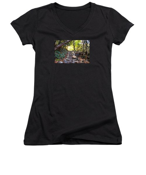 Meigs Creek Trailhead Women's V-Neck T-Shirt (Junior Cut) by Paul Mashburn
