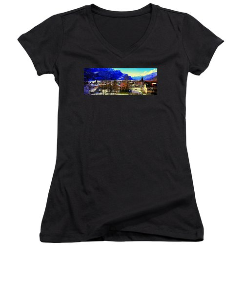 Meiringen Switzerland Alpine Village Women's V-Neck (Athletic Fit)