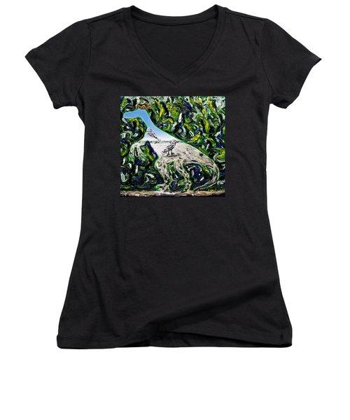 Memetic Process Women's V-Neck T-Shirt (Junior Cut) by Ryan Demaree
