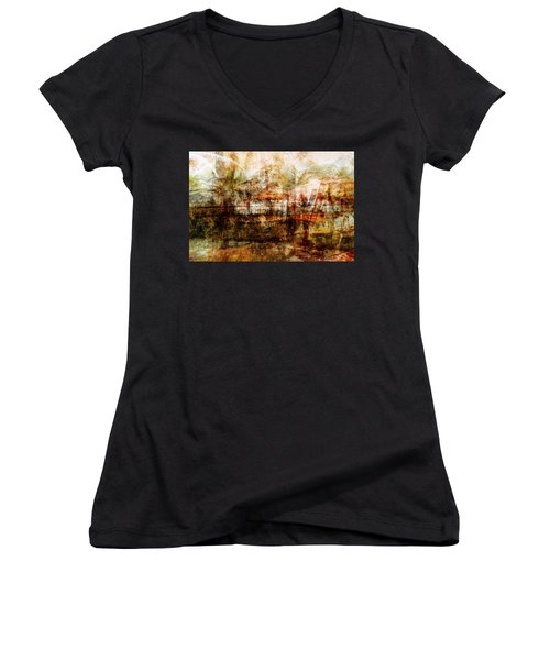 Women's V-Neck T-Shirt (Junior Cut) featuring the mixed media Memories #1 by Sandy MacGowan