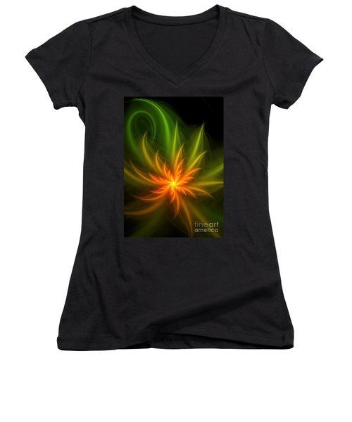 Women's V-Neck T-Shirt (Junior Cut) featuring the digital art Memory Of Spring by Svetlana Nikolova