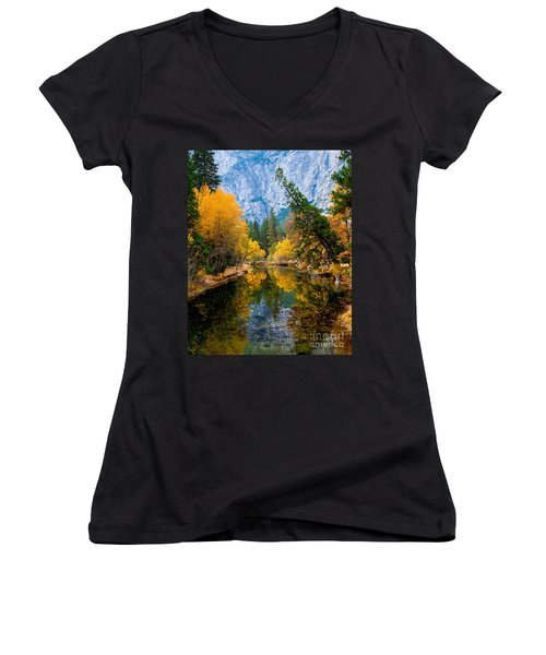 Merced River And Leaning Pine Women's V-Neck T-Shirt