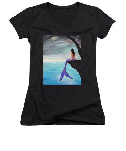 Mermaid Oasis Women's V-Neck T-Shirt (Junior Cut) by Leslie Allen