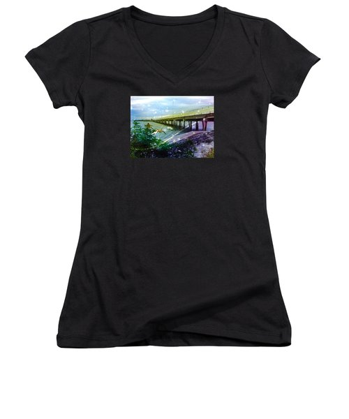 Women's V-Neck T-Shirt (Junior Cut) featuring the digital art Mermaids In Indian River by Megan Dirsa-DuBois