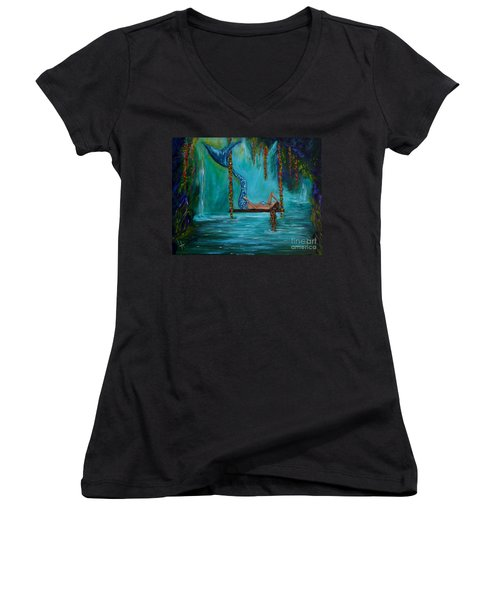 Mermaids Tranquility Women's V-Neck T-Shirt (Junior Cut) by Leslie Allen