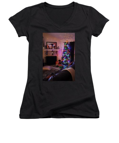 Women's V-Neck T-Shirt (Junior Cut) featuring the photograph Merry Christmas From My Home To Yours by Trish Mistric