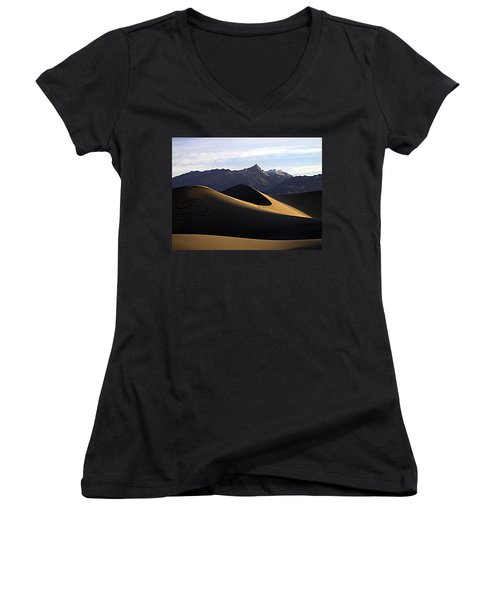 Women's V-Neck T-Shirt (Junior Cut) featuring the photograph Mesquite Dunes At Dawn by Joe Schofield