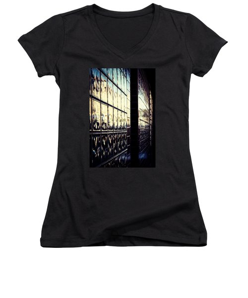 Women's V-Neck T-Shirt (Junior Cut) featuring the photograph Metallic Reflections by Melanie Lankford Photography