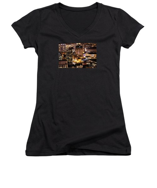 Women's V-Neck T-Shirt (Junior Cut) featuring the photograph Metropolis Vancouver Mdccxv  by Amyn Nasser