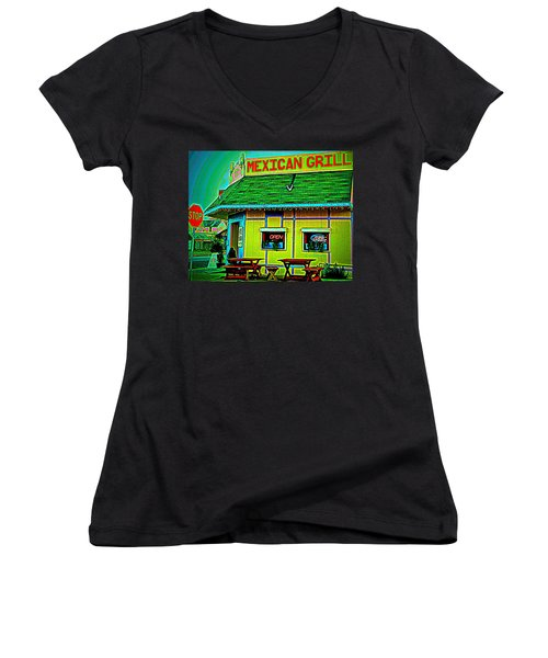 Mexican Grill Women's V-Neck T-Shirt (Junior Cut) by Chris Berry
