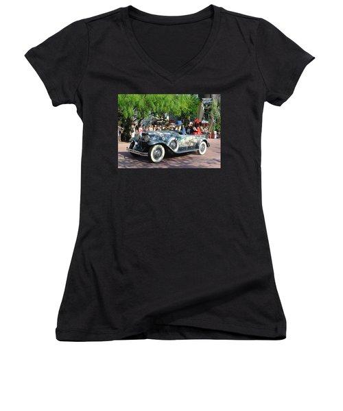 Women's V-Neck T-Shirt (Junior Cut) featuring the photograph Mgm Famous 4 by David Nicholls