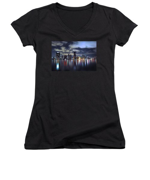 Miami Skyline Women's V-Neck (Athletic Fit)