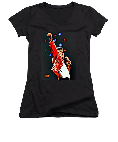 Michael Women's V-Neck T-Shirt (Junior Cut) by Florian Rodarte