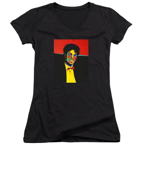 Michael Jackson Women's V-Neck T-Shirt (Junior Cut) by Stormm Bradshaw