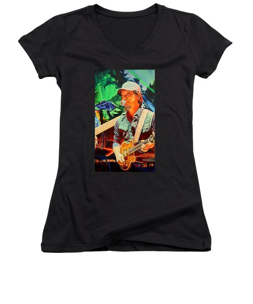 Women's V-Neck T-Shirt (Junior Cut) featuring the painting Michael Kang At Horning's Hideout by Joshua Morton