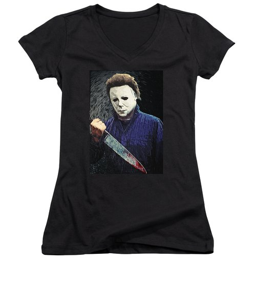 Michael Myers  Women's V-Neck (Athletic Fit)
