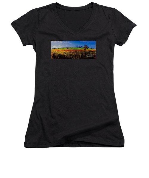 Michigan Uper  Farm Barn And Rolls Of Hay Brimly Michigan Women's V-Neck