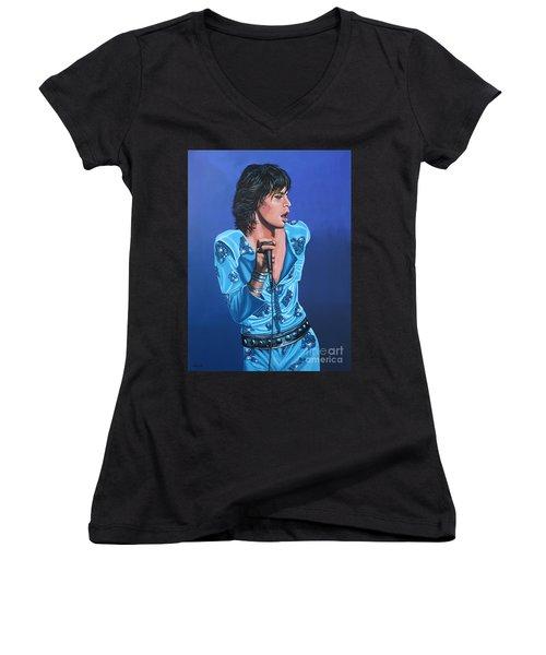 Mick Jagger Women's V-Neck (Athletic Fit)