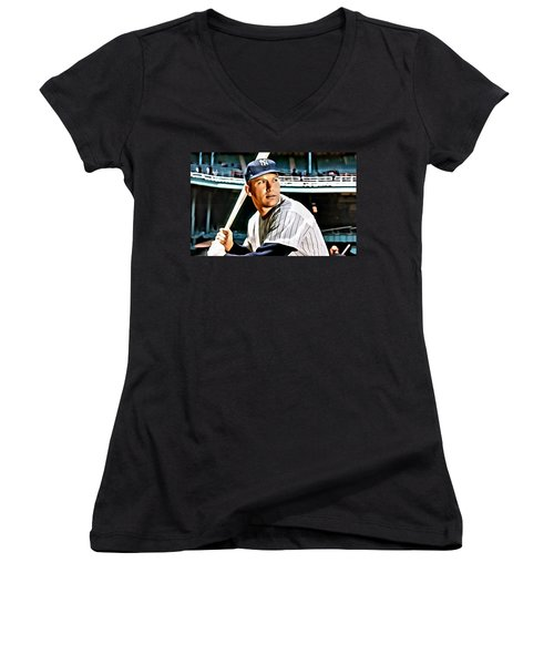 Mickey Mantle Women's V-Neck T-Shirt