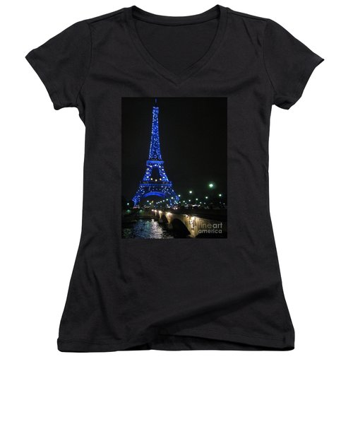 Women's V-Neck T-Shirt (Junior Cut) featuring the photograph Midnight Blue by Suzanne Oesterling