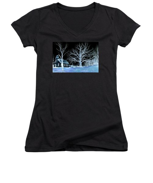 Midnight Country Church Women's V-Neck (Athletic Fit)