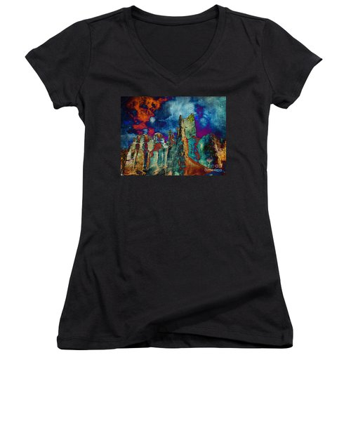 Midnight Fires Women's V-Neck (Athletic Fit)