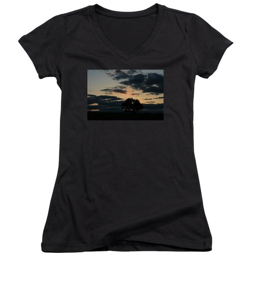 Women's V-Neck T-Shirt (Junior Cut) featuring the photograph Farm Pasture Midnight Sun  by Neal Eslinger