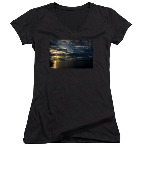 Midnight Sun Over Cook Inlet Women's V-Neck T-Shirt (Junior Cut) by Andrew Matwijec