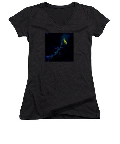 Midnight Sunflower Women's V-Neck T-Shirt (Junior Cut) by Darryl Dalton