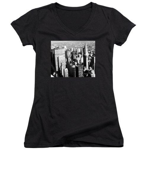 Midtown Manhattan 1972 Women's V-Neck T-Shirt (Junior Cut) by Steve Archbold
